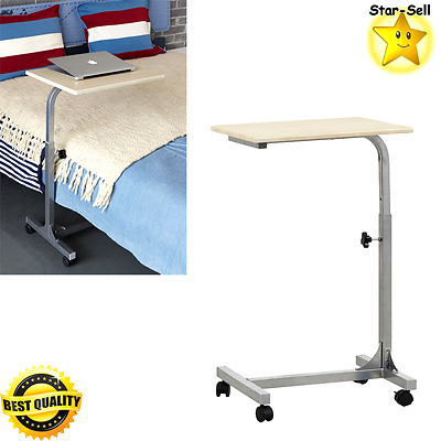 Portable Laptop Desk Medical Overbed Table Tray Computer Cart Bed Side Table