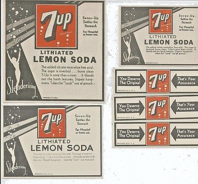 Six Rare 1930's 7up Soda Neck & Bottle Narcotic Labels