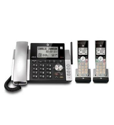 AT&T Corded Cordless Phone w/ 2 Handsets & Digital Answering Machine ATT-CL84215