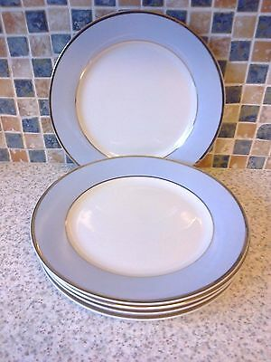 5 x Royal Doulton Blue White Gold side/cake Plates 8 inch Bruce Oldfield Design