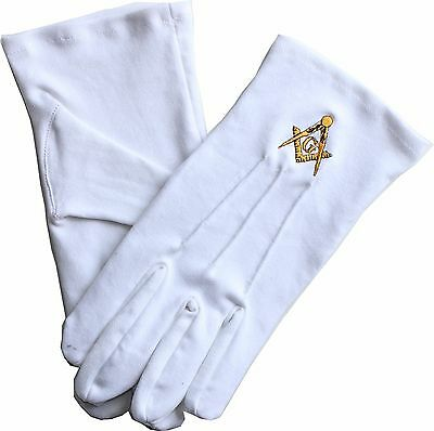 Masonic Freemasons Square And Compass Embroidered Dress Gloves Xl Size