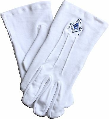 Masonic Freemasons Square And Compass Embroidered Dress Gloves Xl Size Bl