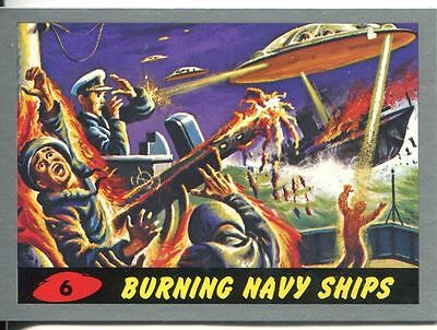 Mars Attacks Heritage Silver Parallel Base Card #6    Burning Navy Ships