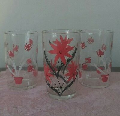 Vintage Swanky Swig Red Flowers and Red and Black Flower Glasses - Set of 3