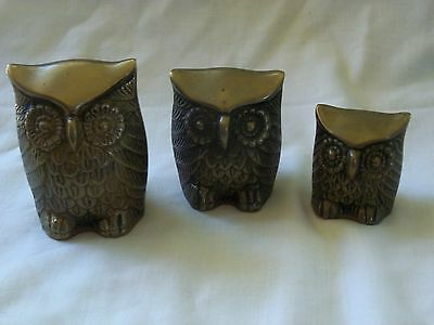 Solid Brass Owls Set of 3