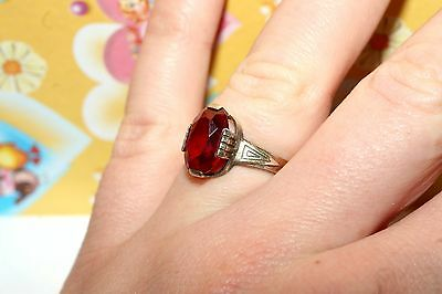 Perfect vintage RUBY stone Ring Silver 875 USSR Antique SIZE 7