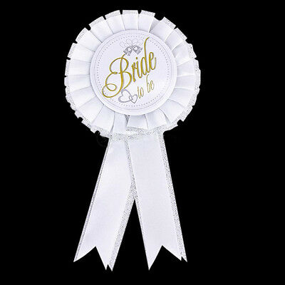 Bachelorette Hen Night Party Accessory Bridal White Badge Rosette Shower Stag