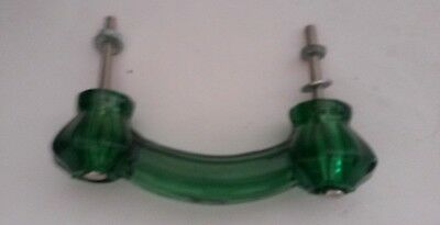 Emerald Green Glass Depression Cabinet Pulls Drawer Handle Vintage Style