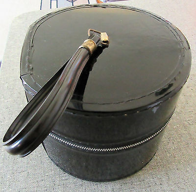 Vintage Small Hat/Wig Box Purse Shiny Black Vinyl With Loop Handle and Zipper