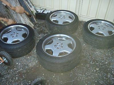 set of 4 mercedes w220 amg wheels and tyres staggered 245/45ZR18 90% tread
