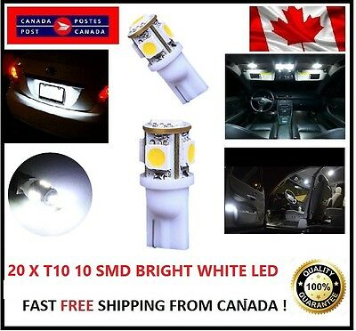20x T10 LED Xenon White license Plate Wedge 5SMD 5050 194 Bulb Light 168 W5W HID