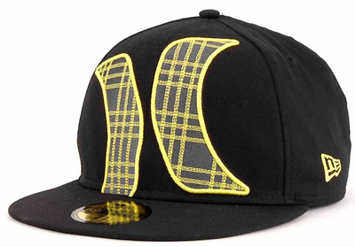 Hurley Townser Black Yellow Gray New Era 59FIFTY Fitted Cap Hat $35 Size 7 3/8