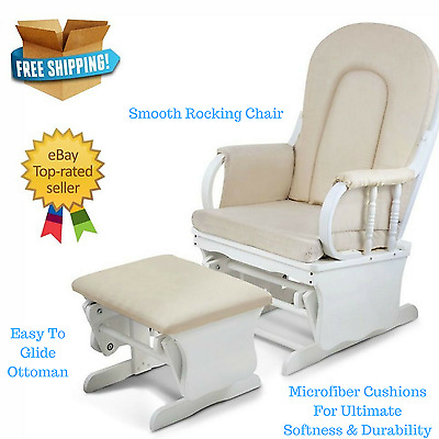Wooden Glider Chair Baby Nursery Room Rocking Ottoman Footrest Feed Seat Lounge