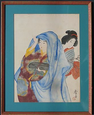 An Antique Japanese Painting on Silk of Two Women