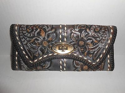 Vintage Hand crafted Leather Tooled Clutch Organizer Wallet Large