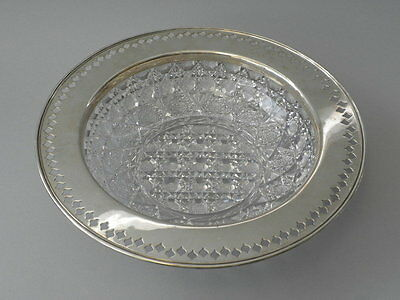 Tiffany Bowl - Antique ABC - American Brilliant Cut Glass Sterling Silver