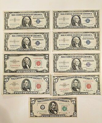 Lot of 9 Silver Certificates-Red Seals-Federal Reserve Note 1935-50-53-57-63
