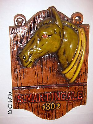 VINTAGE  Our Own Imports  S.MARTINGALE 1802 HORSE HEAD WALL PLAQUE SIGN  RARE