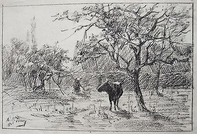 Fine 19th century drawing of by Richard Toovey (1861-1927). 1883/5. Farm scene.