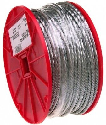 Galvanized Steel Wire Rope On Reel, 7x7 Strand Core, 3/32' Bare OD, 500' 184