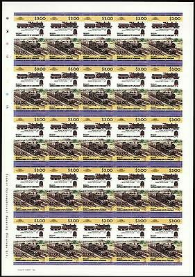 1910 LNWR George the Fifth 4-4-0 Imperf/Imperforate Train Stamp Sheet (L&NWR)