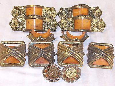 antique 14 drawer pull handle bakelite art cabinet waterfall butterscotch amber