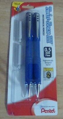 2 PENTEL Twist Erase III Automatic Pencils 0.5mm Blue Barrels