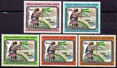 Sao Tome 1975 Independence/Proclamation Family Flags Sailing Boats Palm Trees NH