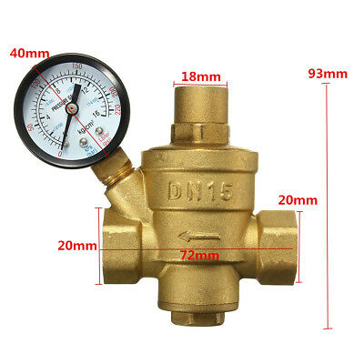 1/2'' DN15 Bspp Brass Water Pressure Reducing Valve with Adjustable Gauge Flow