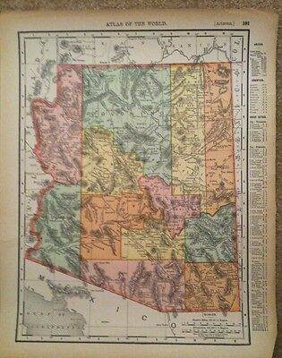 1895 Antique Original Arizona Color Atlas Map Rand McNally