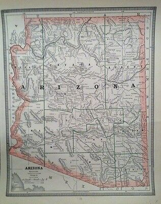 c1886 Antique Original Map ARIZONA & UTAH (on Reverse Side) Atlas Map