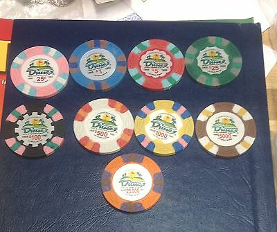 DUNES HOTEL & COUNTRY CLUB LAS VEGAS CASINO COMMEMORATIVE POKER CHIPS, 9 Total