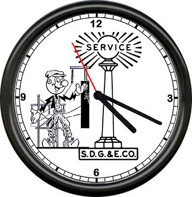 Reddy Kilowatt Electrician SDG&E San Diego Gas & Electric Co. Sign Wall Clock