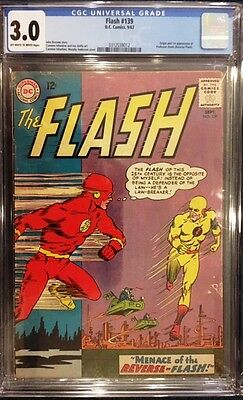 THE FLASH #139 CGC 3.0 GD/VG 1st Appearance of REVERSE FLASH Professor Zoom 1963