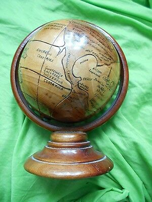 "lovely 7"" wooden terrestrial globe with primitive mapping"