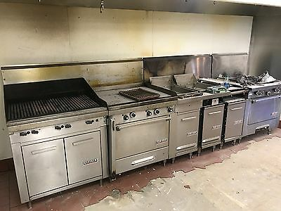restaurant equipment with garland grill, cooktop, fryer, ovens, 15' hood, etc