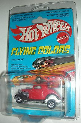 Red 3-Window 1934 Hot Wheels 1977 on card in plastic case with creases cut open