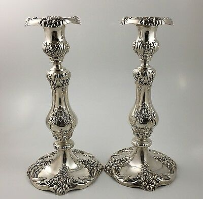 """PAIR Reed Barton King Francis 10.5"""" Candlestick Silver Plate 1630 Candle"""