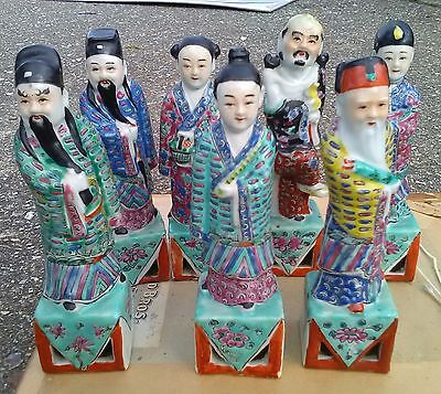 Antique Chinese Familie Rose? Seven Immortal Porcelain Figures-19th/20th C