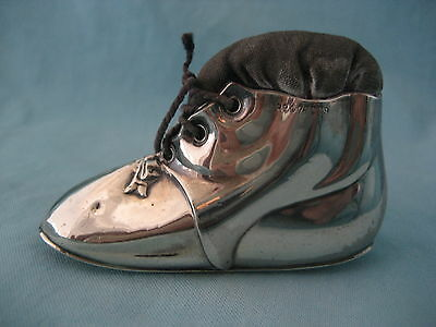 Sterling Silver Boot Baby Bootie Pincushion Levi & Salaman 1909 Original Cushion