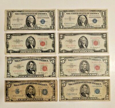 Lot of 8 US Currency (4)Blue Seal $1-$5 Silver Certs (4)Red Seal $2-$5 US Notes