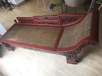 Rare Antique Hand-Carved Chaise Lounge / Daybed