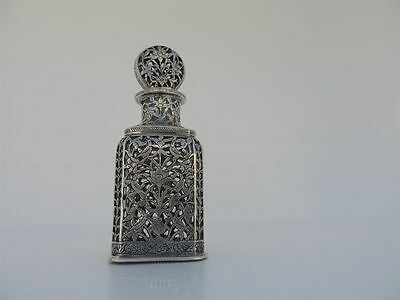 ANTIQUE SIGNED 19th c PERSIAN ISLAMIC QAJAR SILVER OVERLAY PERFUME GLASS BOTTLE