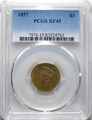 1857 $3 US Gold Indian Princess Head Three Dollar Gold Coin PCGS XF- 45