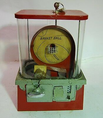 Vintage Rare 1950's 1 Cent Basketball Red Metal Gumball Machine, Basket Ball