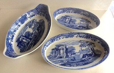 Set of 3 SPODE Large Oval Serving Dish Platter BLUE ITALIAN CAMILLA England MINT