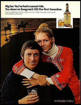 1972 Seagram's VO Big Sur Sunset Horse Ride Vintage Print Ad