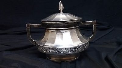 Excellent 925 Silver Sugar Bowl, with Floral Decorated Rings