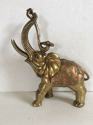 Large Chinese Solid Brass Elephant & Ruyi Statue Inly Bling & Carved Decorative