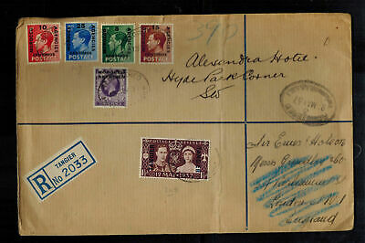 1937 Tangier Morocco Agencies cover KGVI Coronation King George 6 to England